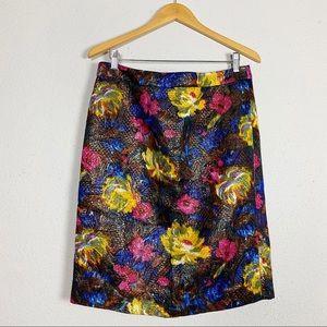 J crew metallic floral brocade pencil skirt